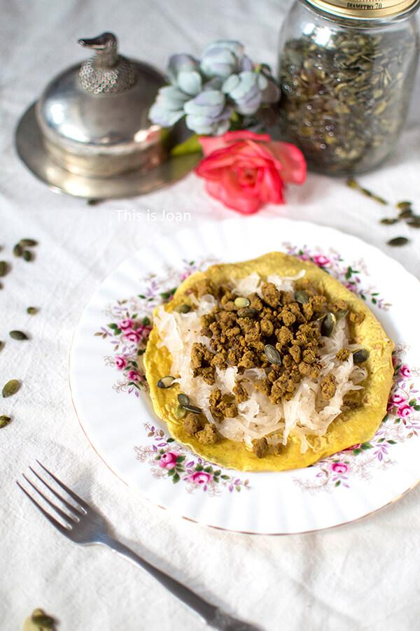 Zuurkoolwraps met vegan gehakt