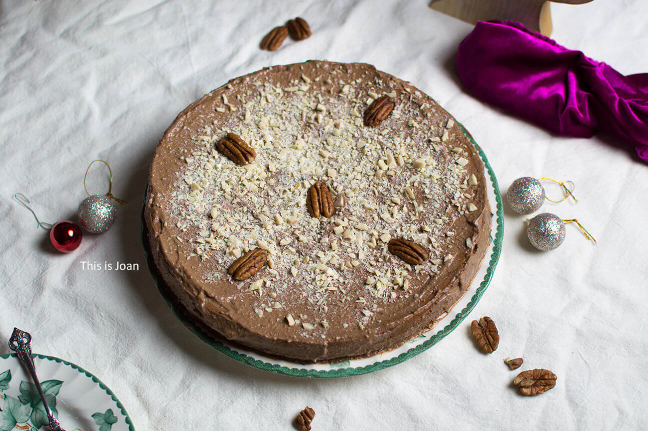 Vegan chocoladetaart met koffie-pecancrème