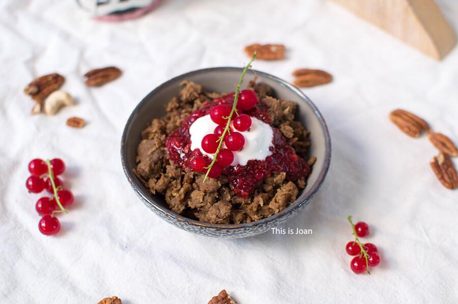 Vegan stoofvlees pulled oats rendier poropata